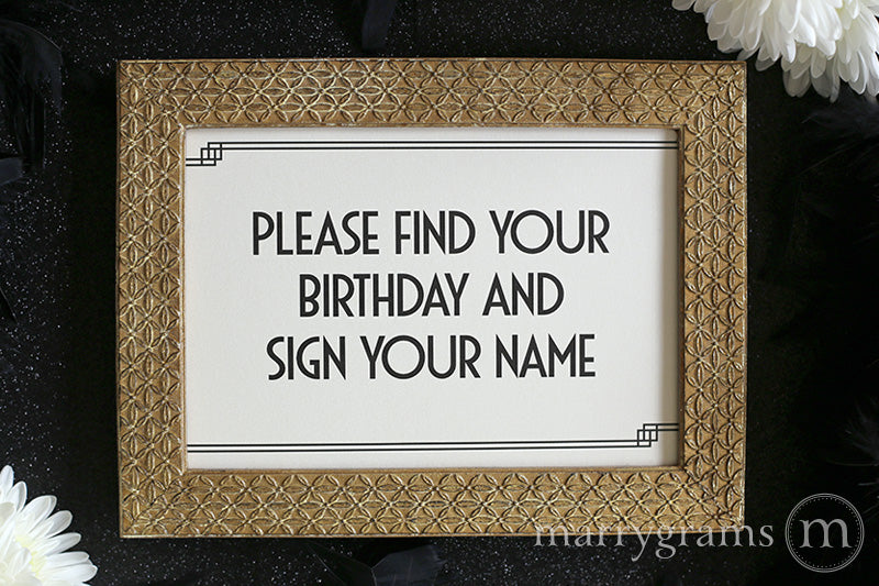 Find Your Birthday Calendar Guest Book Sign Deco Style
