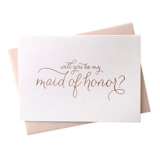 Rose Gold Foil Will You Be My Bridesmaid proposal wedding Cards maid of honor