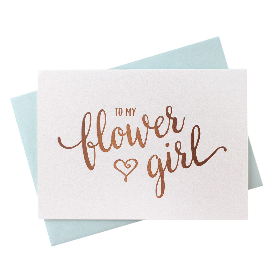 Rose Gold Foil Heart Style Flower Girl Thank You Cards