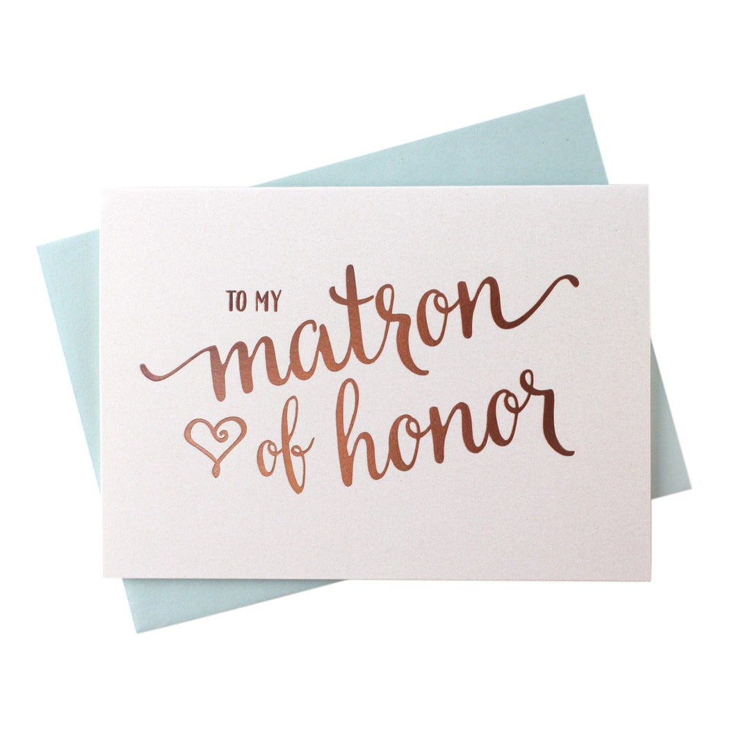 Rose Gold Foil Heart Style Matron of Honor Thank You Cards