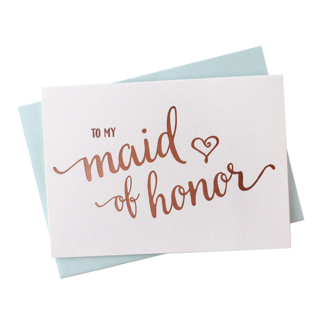 Rose Gold Foil Heart Style Maid of Honor Thank You Cards