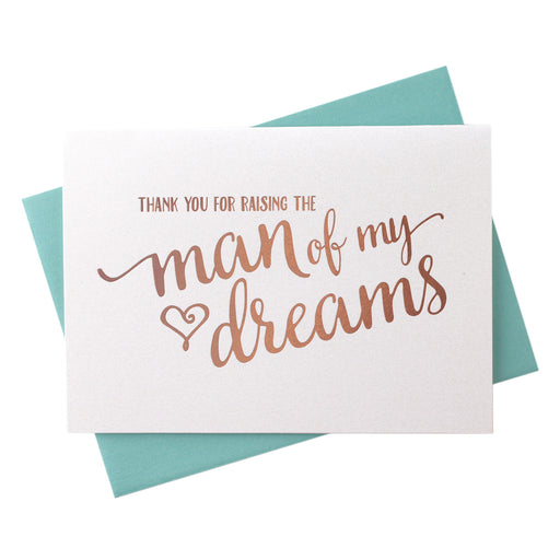 rose Gold Foil Thank You for Raising the Man of My Dreams in laws wedding day  Card