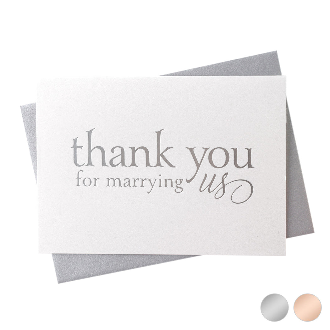 silver Foil Thank You for Marrying Us officiant wedding day  Card