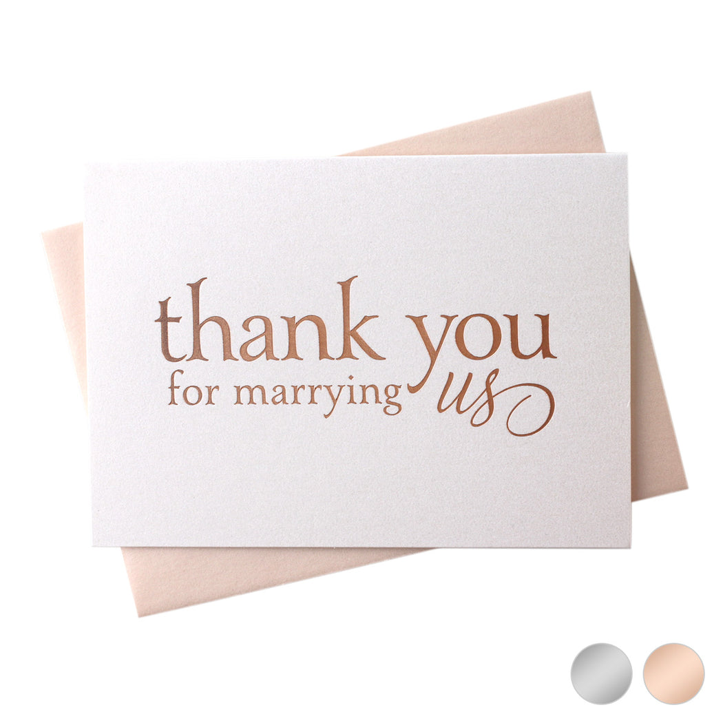rose gold Foil Thank You for Marrying Us officiant wedding day Card