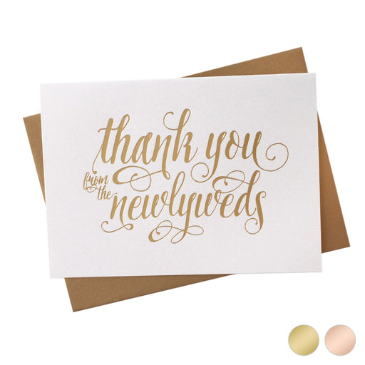 Gold Foil Newlyweds Thank You wedding day Card Romantic Style