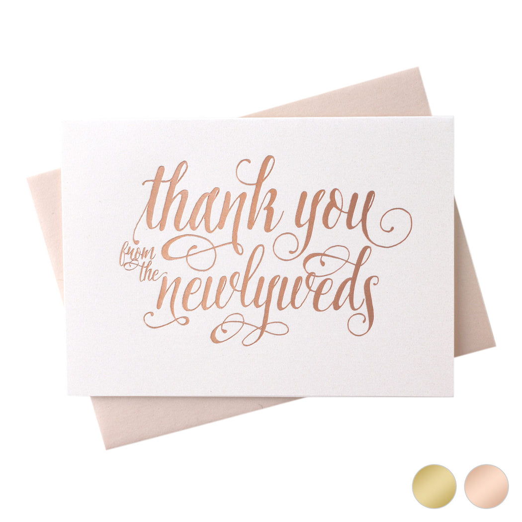 Rose Gold Foil Newlyweds Thank You wedding day Card Romantic Style