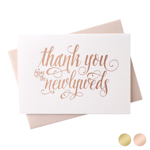 Foil Newlyweds Thank You Card Romantic Style
