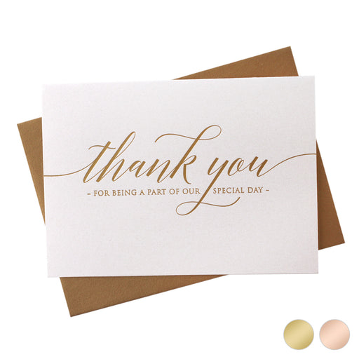 Gold Foil Special Day Wedding Thank You Card Delicate Style