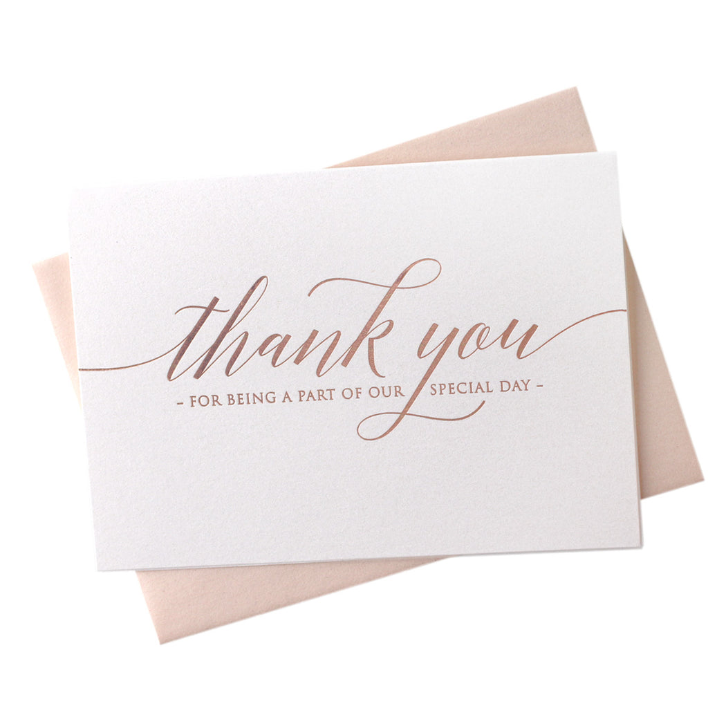 Rose Gold Foil Special Day Wedding Thank You Card Delicate Style