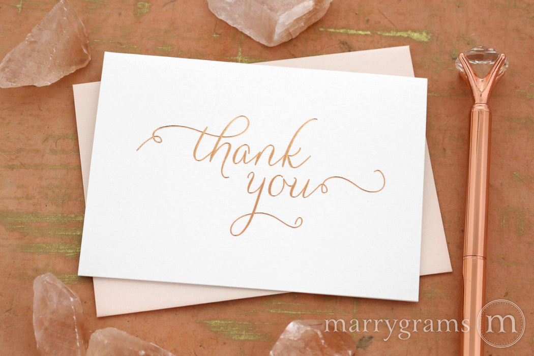 Rose Gold Foil Simple Thank You Card Thin Style