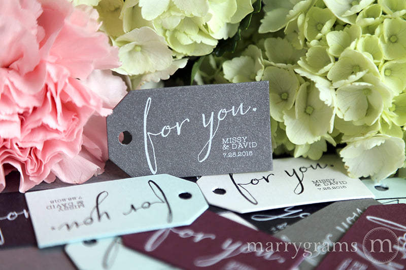 For You Chic Heart wedding Favor Tags