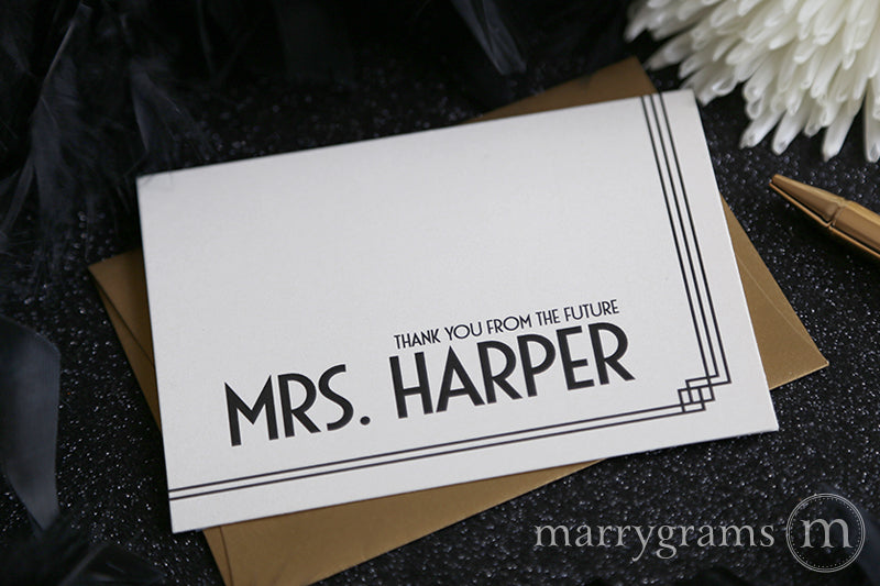 6ad63a340a95 Thank You From The Future Mrs. Bridal Shower Card Deco Style ...