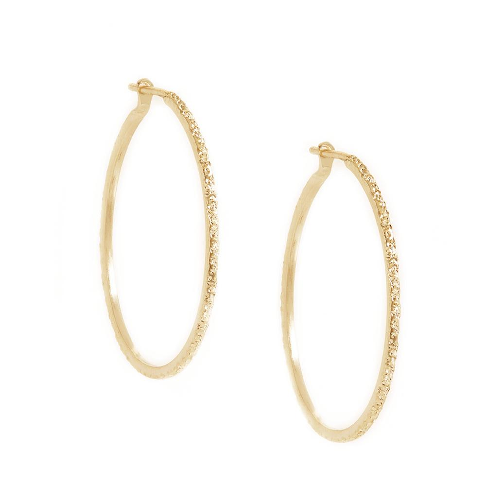 Diamond Dusted Yellow Gold Hoop Earrings