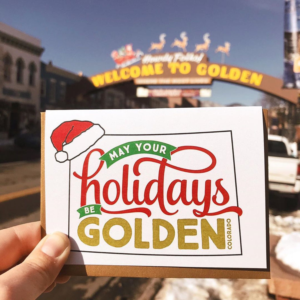 May your holidays be Golden santa hat colorado Card