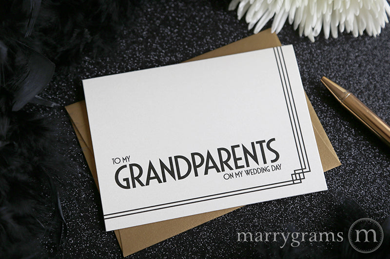 To My Family grandparents Wedding Day Card Deco Style