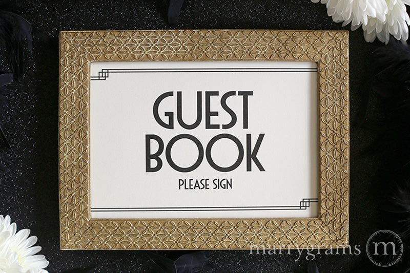 Wedding Guest Book Sign Deco Style