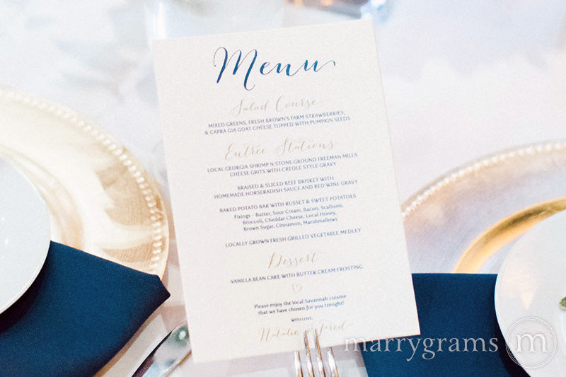Custom Wedding Reception Menu Handwritten Style