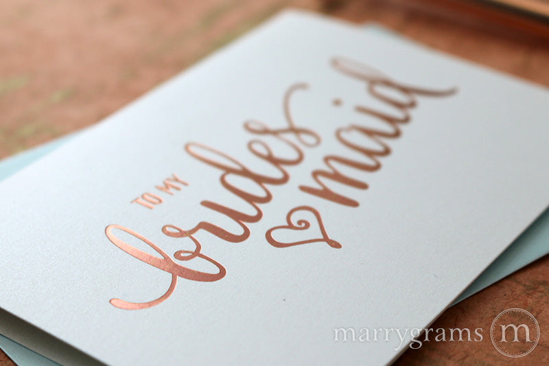 Rose Gold Foil Heart Style Bridesmaid Thank You Cards