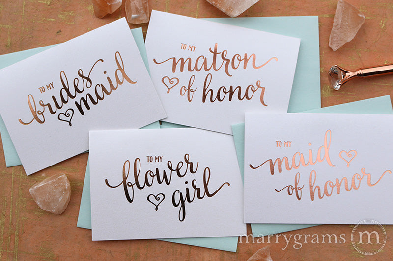 Rose Gold Foil Heart Style Bridal Party Thank You Cards