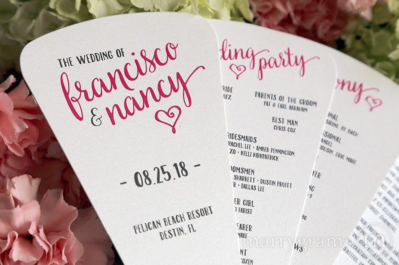 4 Blade Petal Wedding Program Fan Heart Style