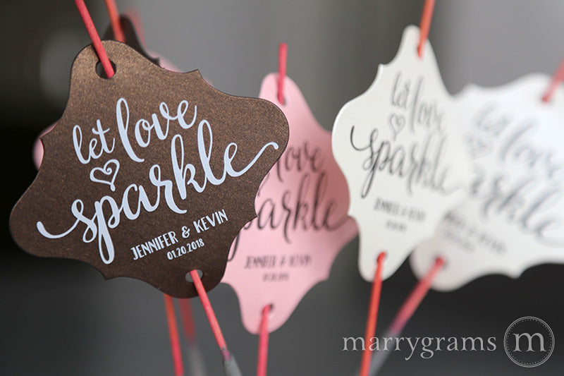 Let Love Sparkle Heart Style Wedding Sparkler Tags