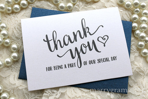 Our Special Day Wedding Vendor Thank You Card Heart Style