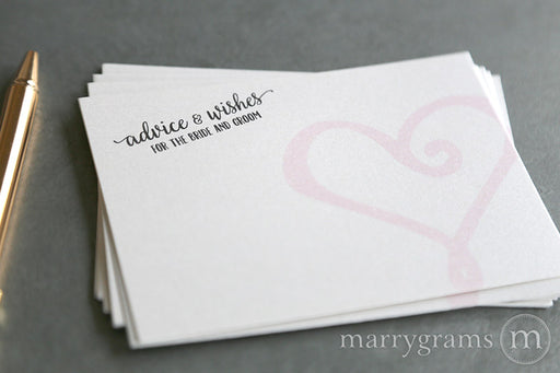 Advice & Wishes for the Bride and Groom Cards Heart Style - Wedding Wish Cards