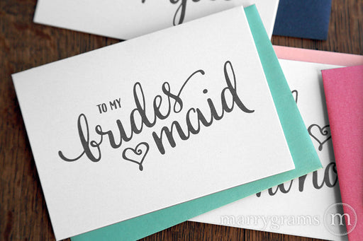 To My Bridesmaid wedding day thank you Card Heart Style
