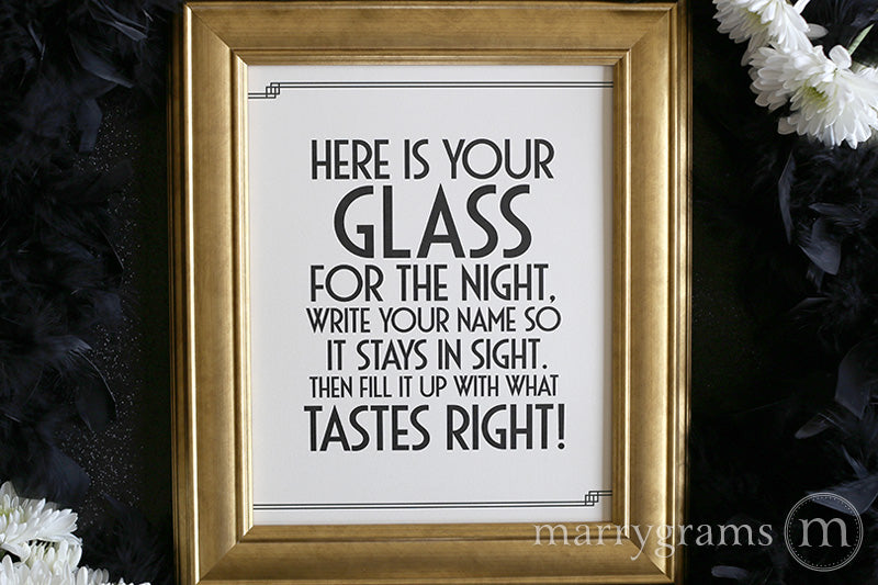 Here's Your Glass Wedding Bar Sign Deco Style