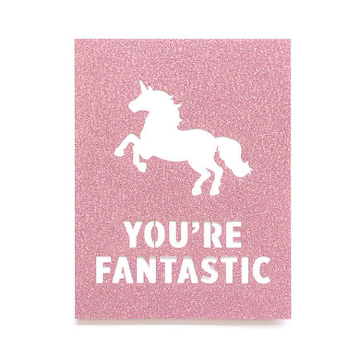 Fantastic Unicorn Glitter Laser Cut Card