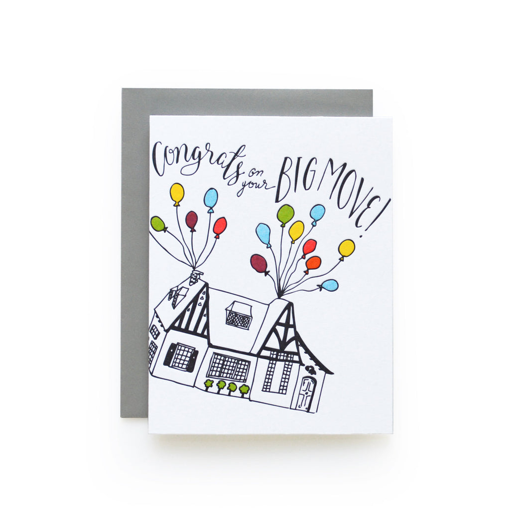 Congrats on your Big Move letterpress Card flying balloon house