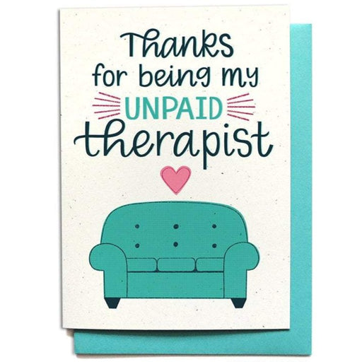 Thank You Unpaid Therapist Card