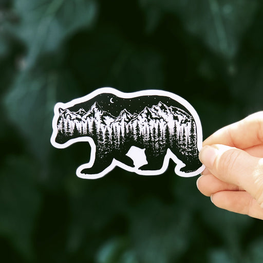 Forested Bear Vinyl Sticker