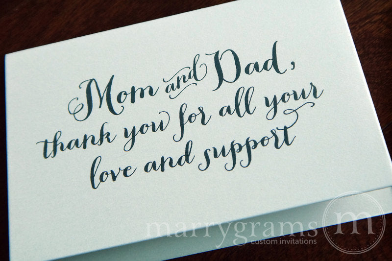 Mom and Dad Thank You Wedding Day Card Thick Style