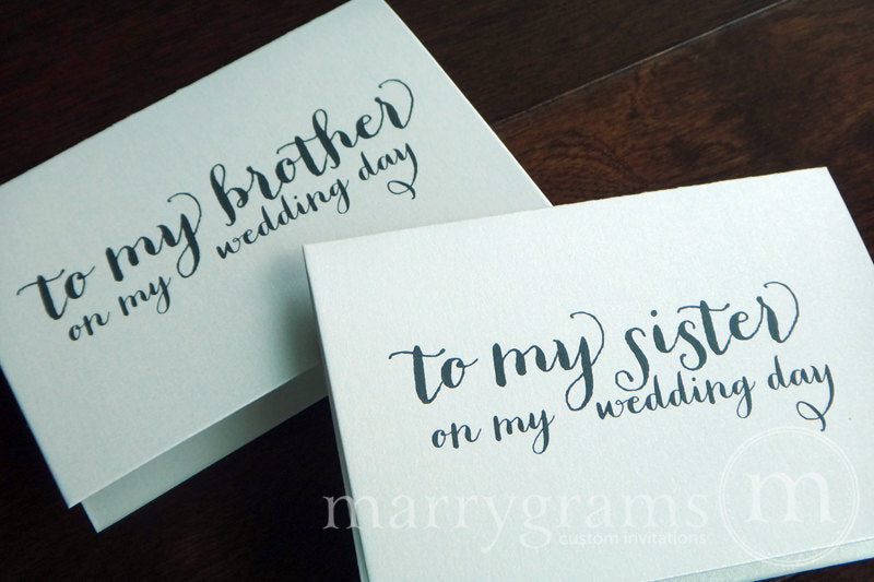 To My Family brother and sister Wedding Day Card Thick Style