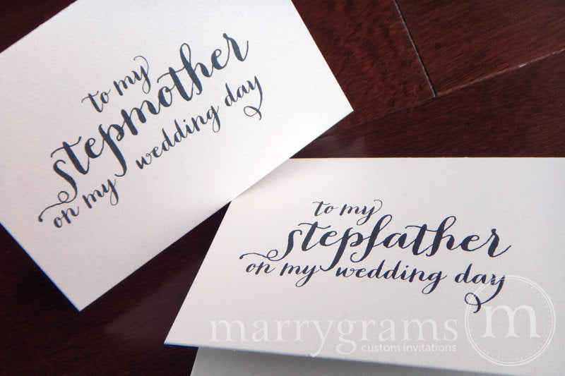 To My Family stepmother and stepfather Wedding Day Card Thick Style