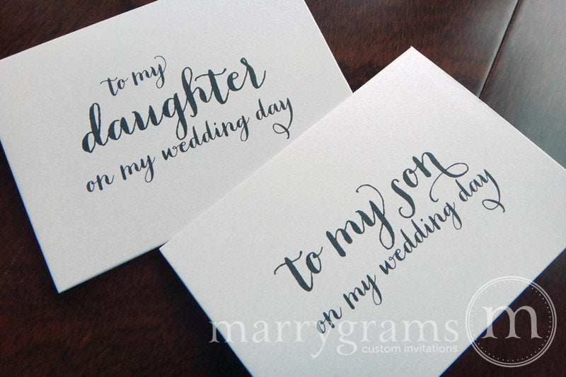 To My Family daughter and son Wedding Day Card Thick Style