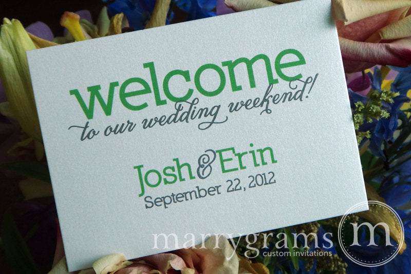 Custom Color Welcome Wedding Weekend Flat Card