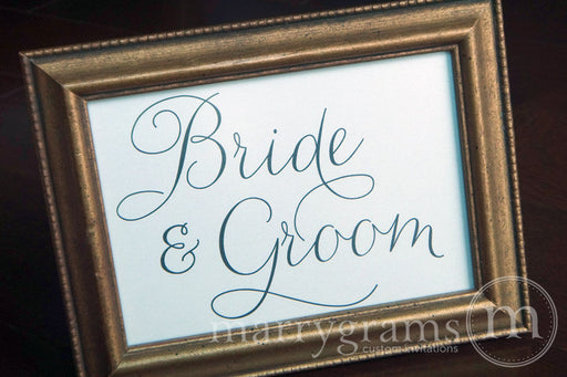 Bride & Groom Wedding Sweetheart Table Sign Thin Style