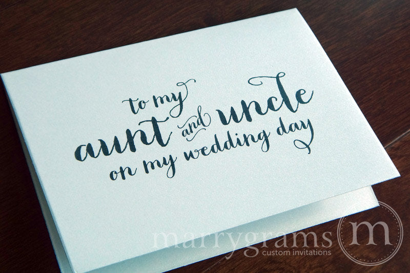 To My Family aunt and uncle Wedding Day Card Thick Style