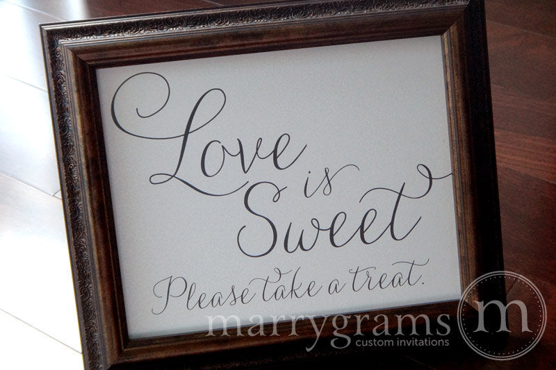 Love is Sweet, Please Take a Treat Sign Thin Style