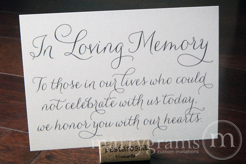In Loving Memory Wedding Memorial Sign Thin Style