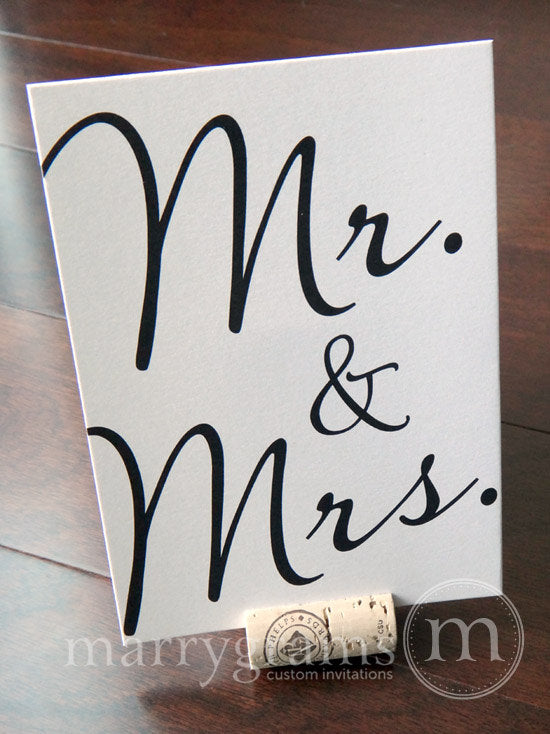 Mr. & Mrs. Wedding Sweetheart Table Sign Diagonal Style
