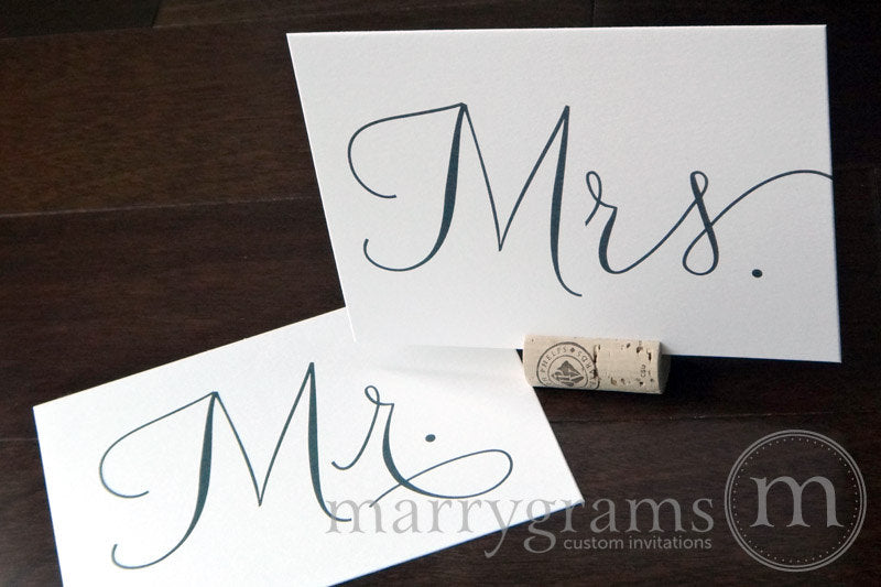 Mr. and Mrs. Wedding Reception Signs Thin Style