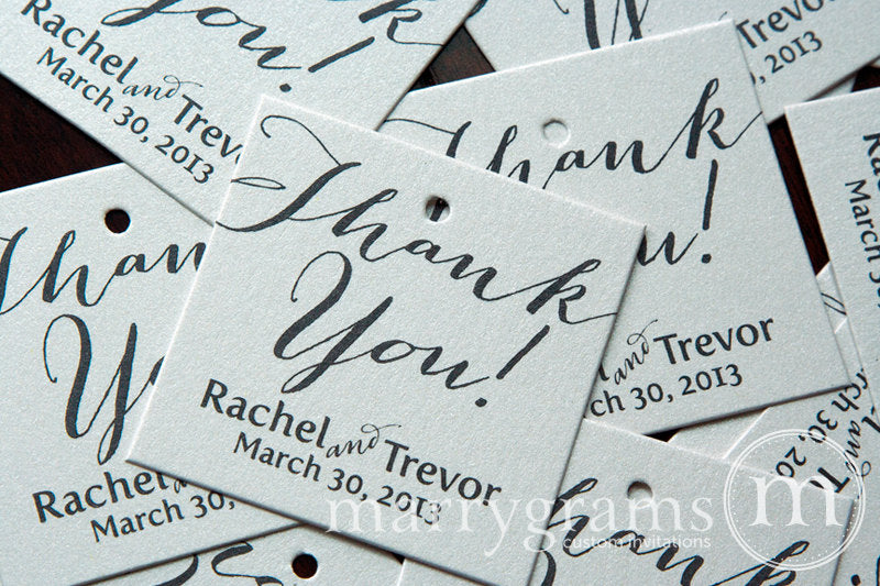 Thank You Custom Wedding Favor Tag Handwritten Style