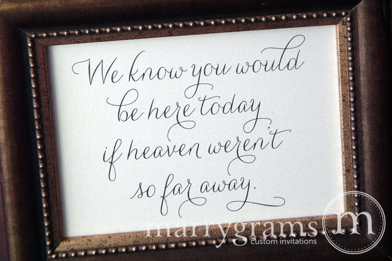 You Would Be Here Today Wedding Memorial Sign Thin Style