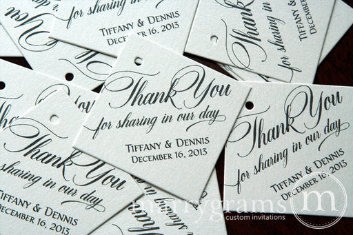 Thank You For Sharing In Our Day Custom Wedding Favor Tag