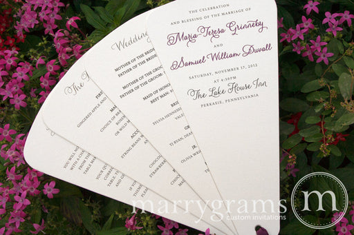 4 Blade Petal Wedding Program Fan Thin Style