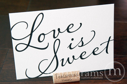 Love is Sweet Wedding Candy Dessert Sign Diagonal Style