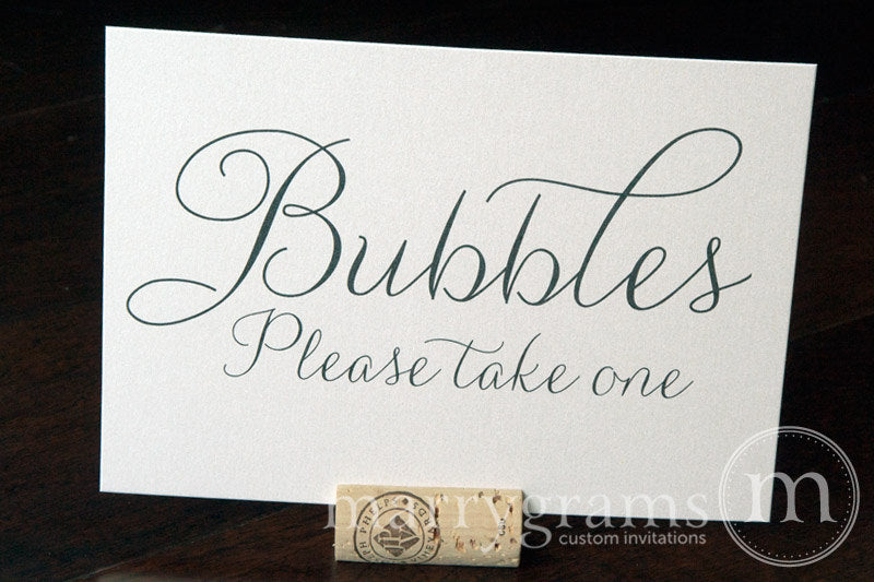 Wedding Bubbles Send Off Sign Thin Style